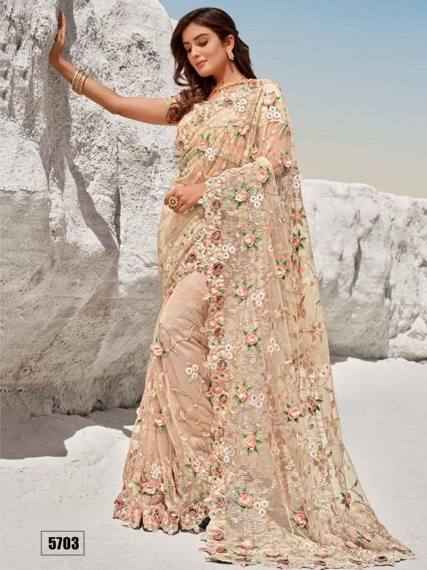Embroidered Saree Peach Colour Net Fabric