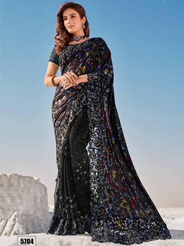 Black Colour Net Fabric Party Wear Saree.