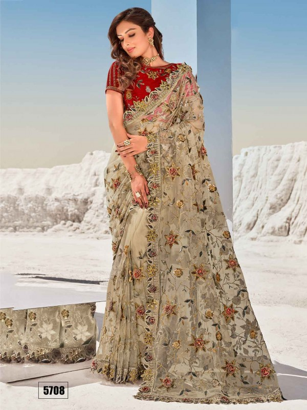 Beige Colour Net Fabric Designer Saree With Embroidery Work.