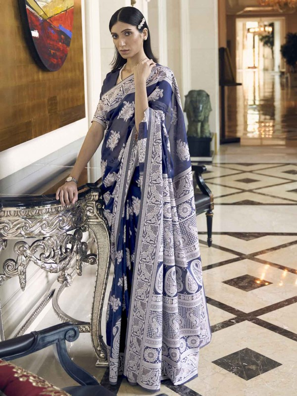 Blue Colour Silk Saree With Weaving Work.