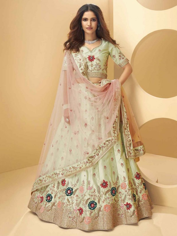 Pista Green Colour Silk Fabric Designer Lehenga Choli.