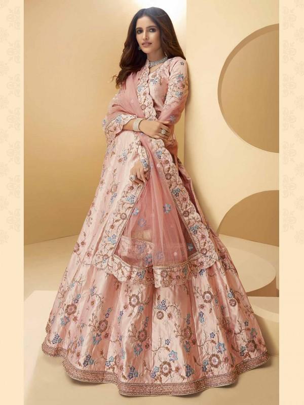 Pink Colour Silk Fabric Indian Designer Lehenga Choli.