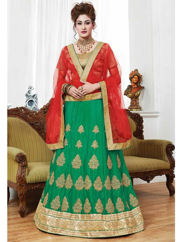 Traditional Look Green Color Lehenga Choli.