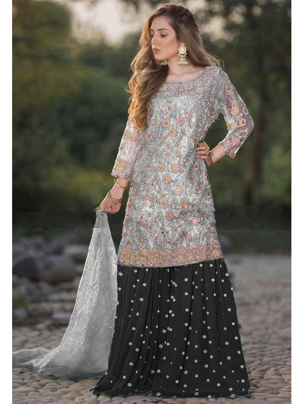 Black,Grey Colour Georgette Salwar Kameez.