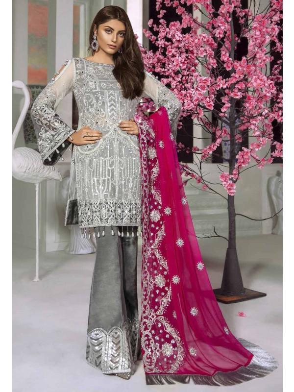Grey Colour Net Salwar Suit.