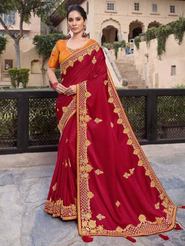Satin,Georgette Designer Saree in Red Colour.