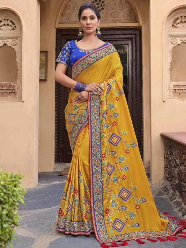 Yellow in Satin,Georgette Fabric Indian Wedding Saree.