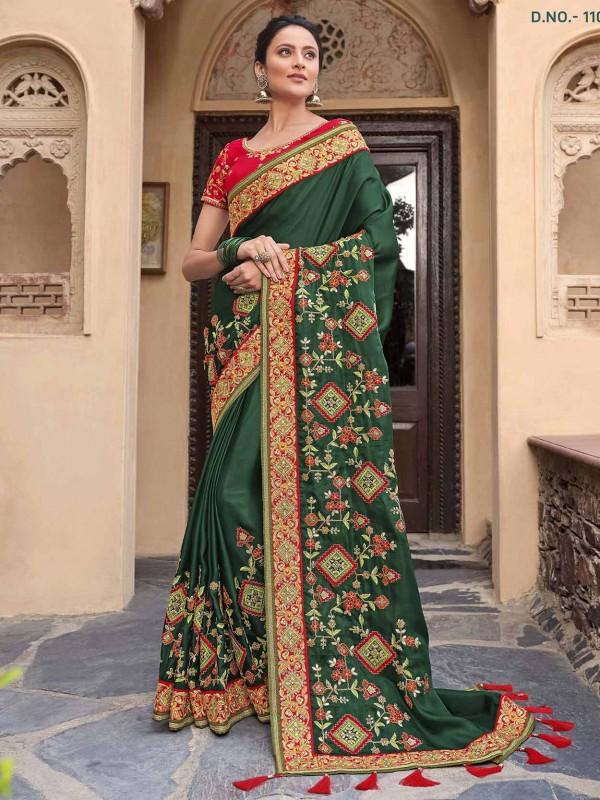 Satin,Georgette Ethnic Wear Saree in Green Colour.