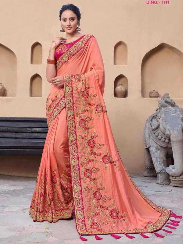 Peach Colour Designer Bridal Women Saree.