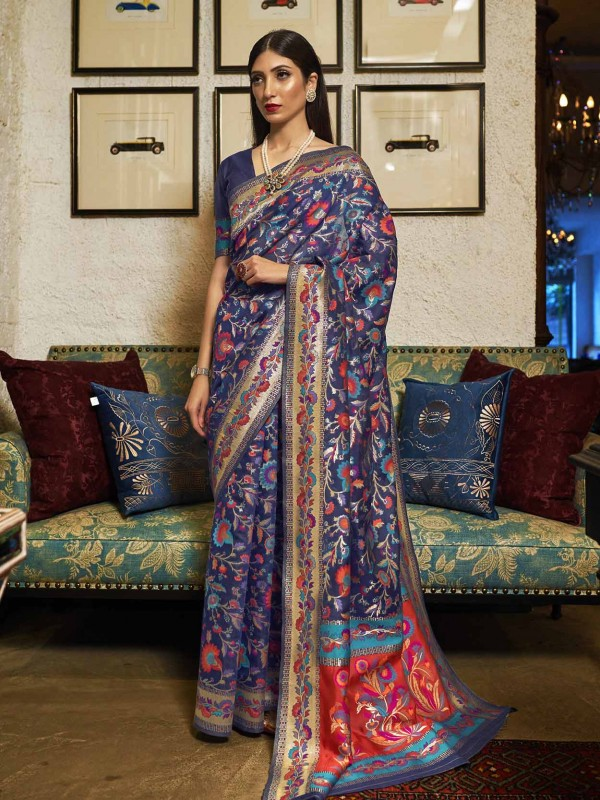 Blue Colour Silk Weaving Saree.