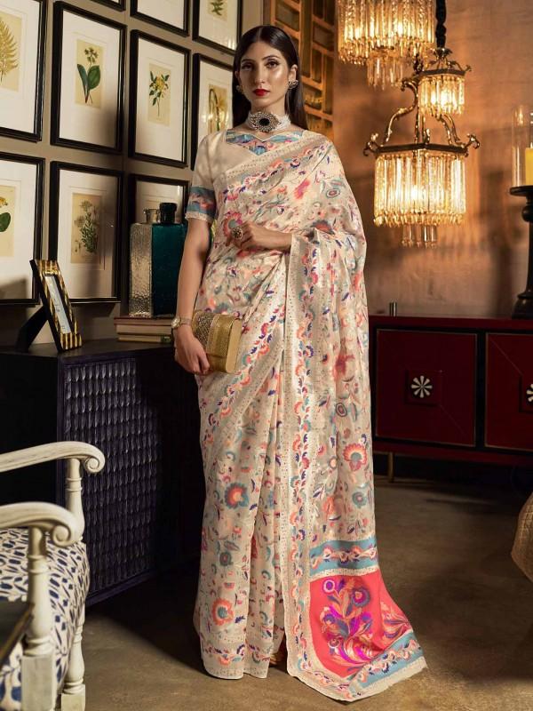 Cream Colour Silk Designer Saree.