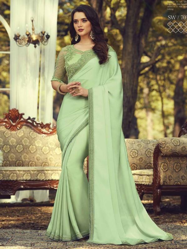 Designer Saree Green Colour in Silk Fabric.