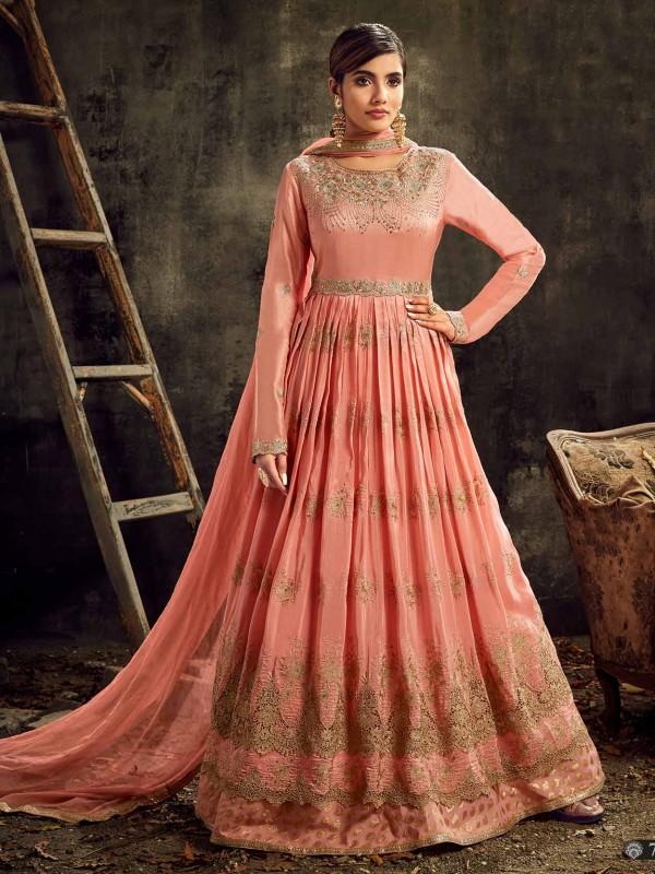 Peach Colour Anarkali Salwar Suit.