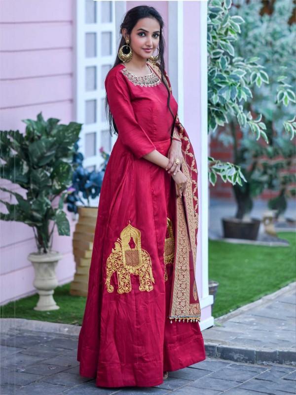 Silk Designer Gown in Red Colour.