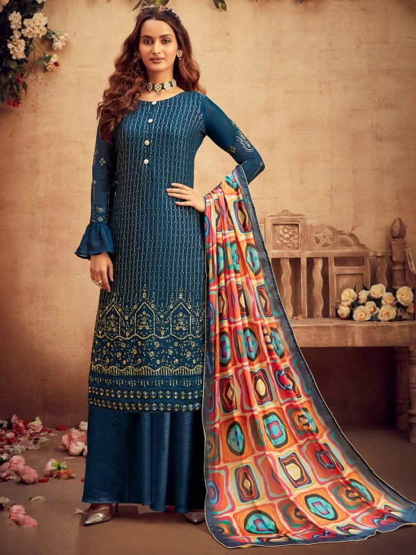 Blue Colour Chiffon Fabric Designer Salwar Suit.