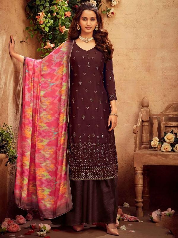 Wine Colour Salwar Kameez in Thread,Printed Work.