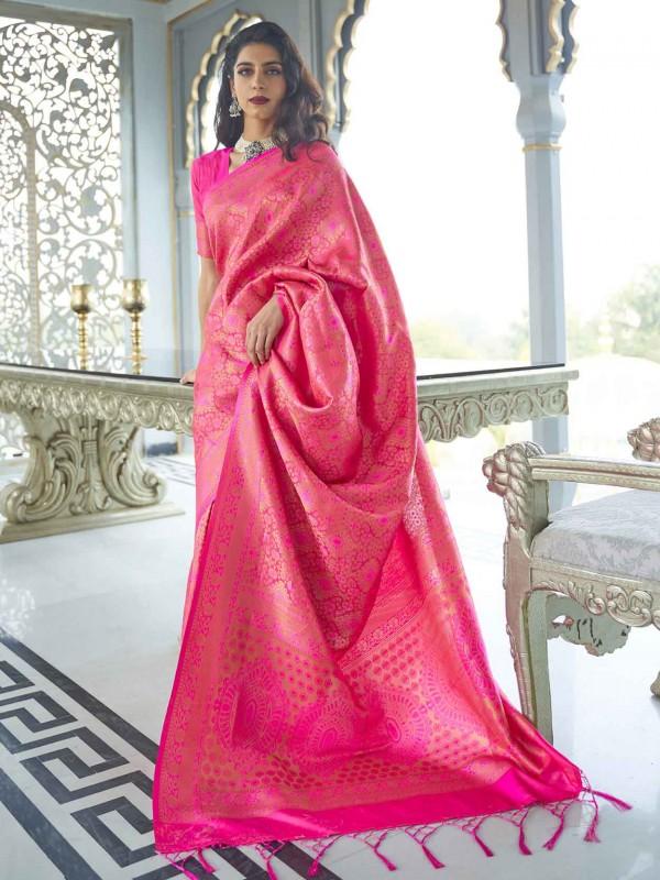 Pink Colour Silk Women Saree.