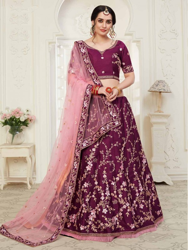 Wine Colour Designer Lehenga Choli in Net,Shantoon Fabric.