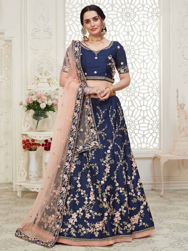 Navy Blue Colour Party Wear Lehenga Choli in Thread,Embroidery Work.