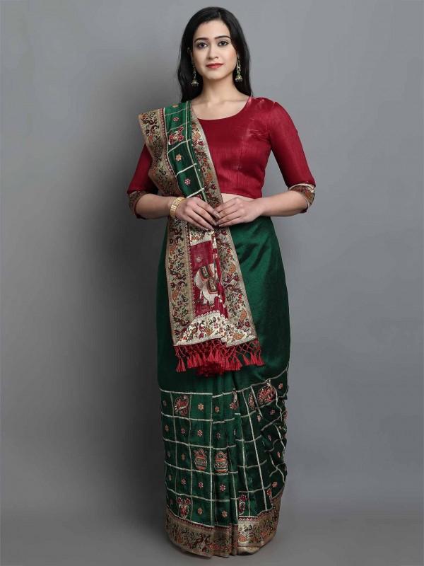 Green Colour Patola Silk Saree.