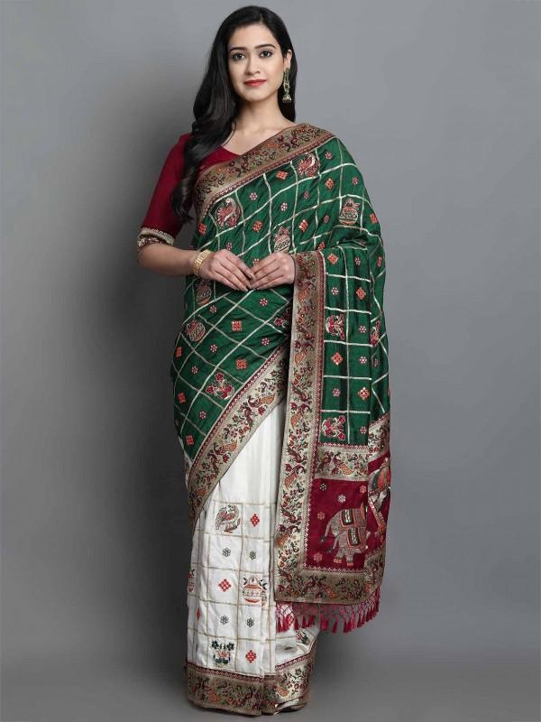 Off White,Green Colour Silk Traditional Saree.
