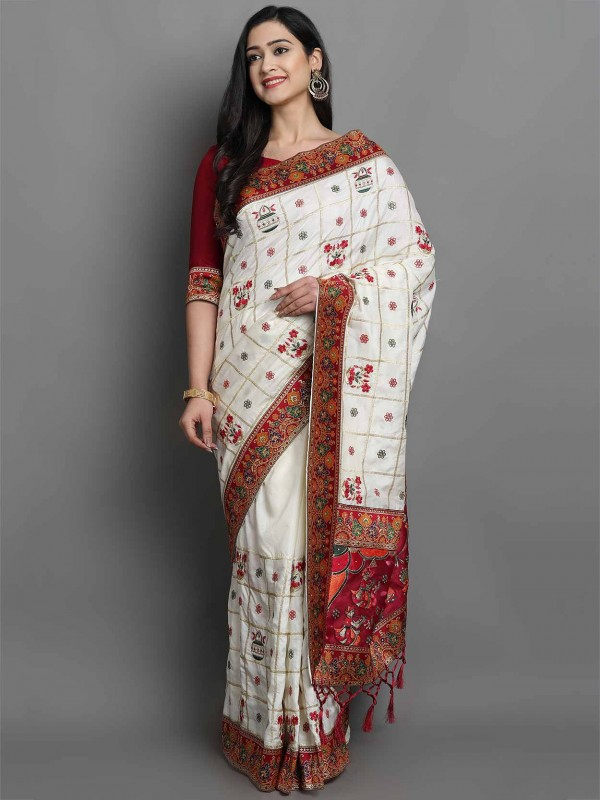 Cream Colour Silk Indian Traditional Saree.