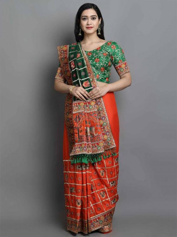 Red Colour Silk Fabric Indian Designer Sari.