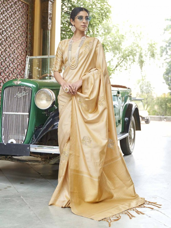 Golden Banarasi Silk Designer Traditional Saree.