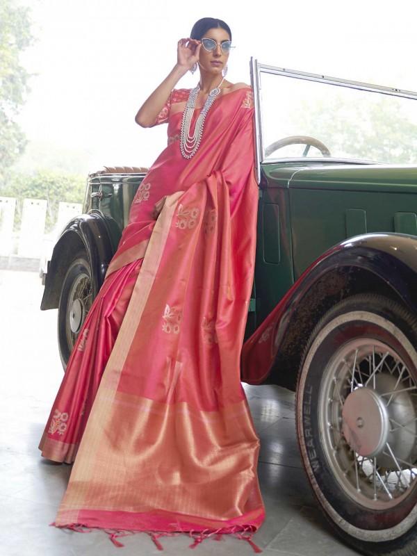 Banarasi Silk Designer Saree in Pink Colour.