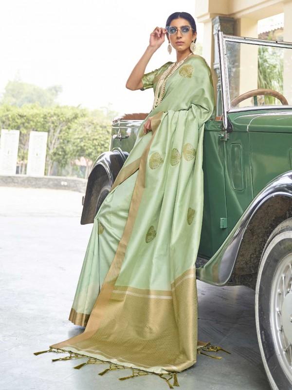Pista Green Colour Banarasi Silk Saree.