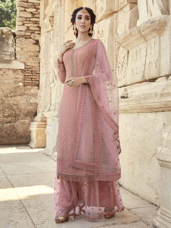 Georgette Palazzo Salwar Suit in Pink Colour.