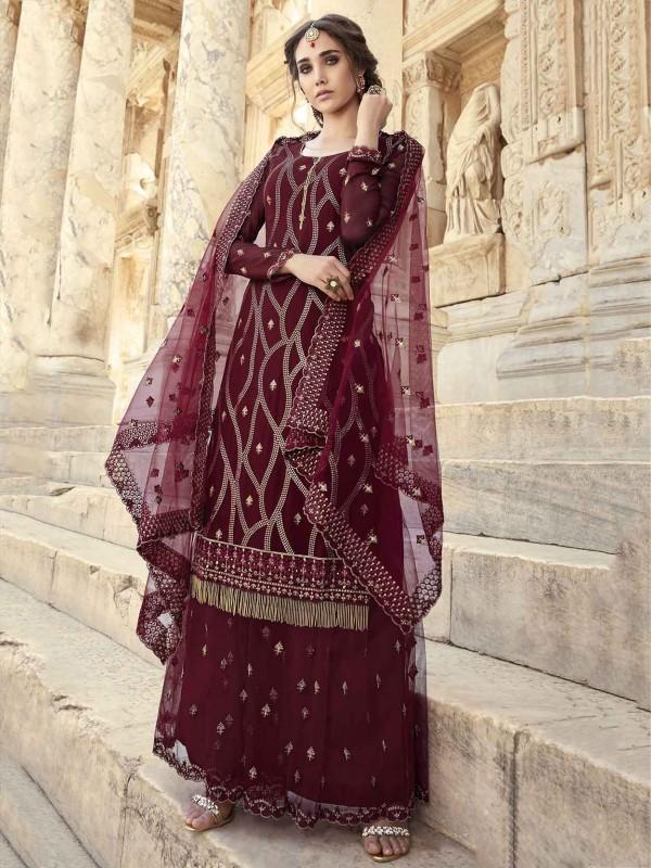 Maroon Colour Designer Palazzo Salwar Kameez in Georgette,Net Fabric.