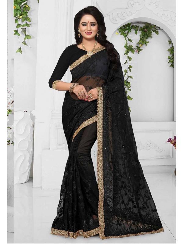 Black Color Party Wear Saree Online