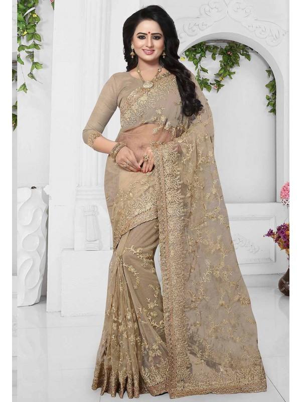 Brown Color Net Cheap Saree Online USA