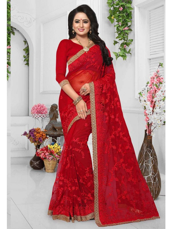 Red Color Designer Bridal Saree Online USA