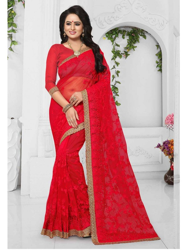 Buy Red Color Indian Wedding Saree Online