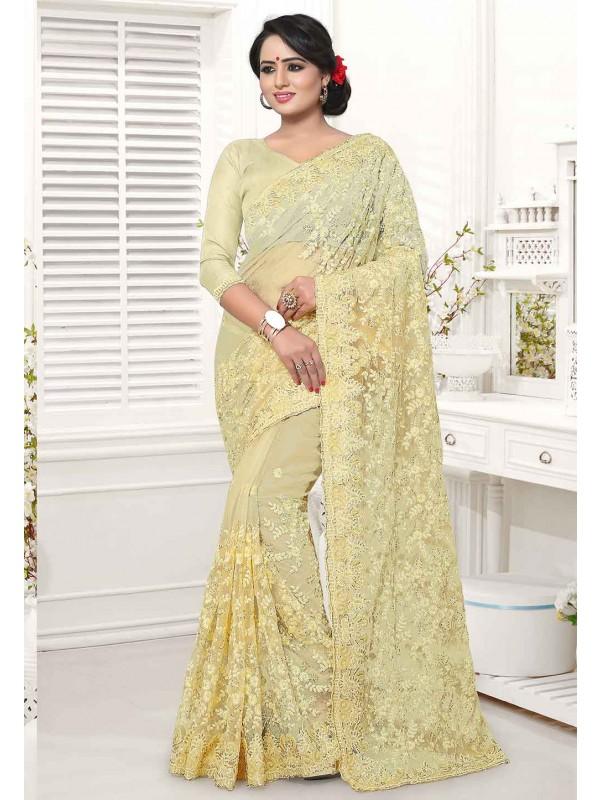 Yellow Colour Indian Saree.
