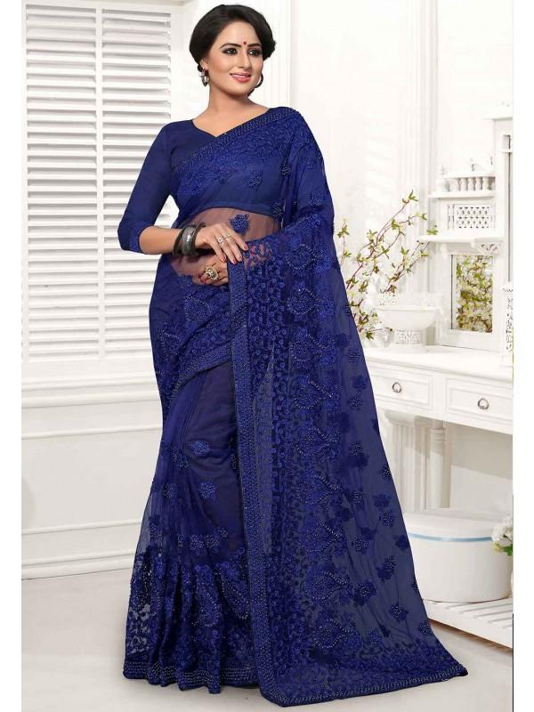 Blue Colour Indian Saree.