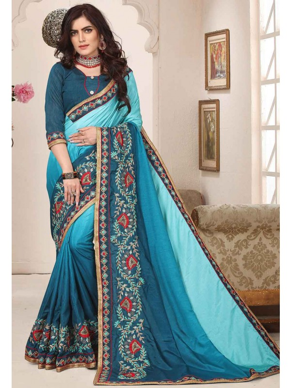 Aqua Blue Colour Designer Saree.
