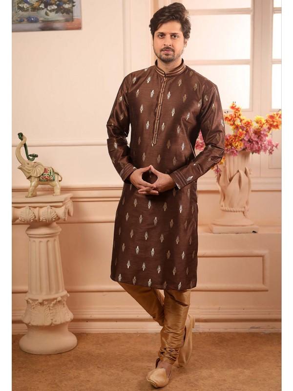 Brown Colour Kurta Pajama.