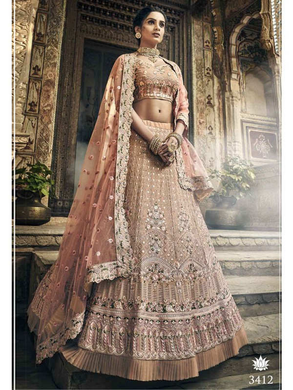 Rose Gold Colour Designer Wedding Lehenga.