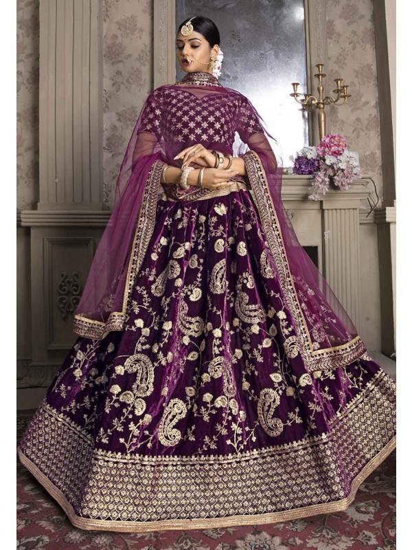 Purple Colour Engagement Lehenga Choli.