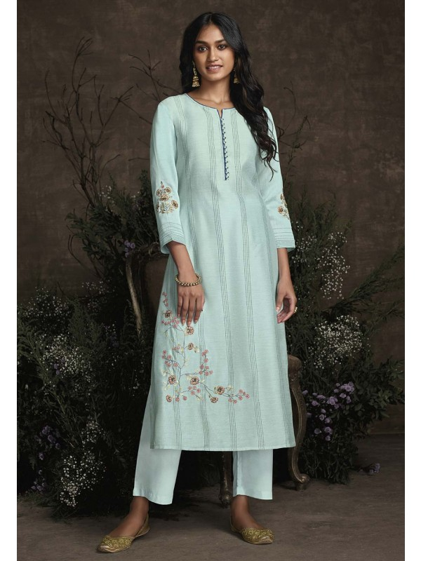Light Blue Colour Silk Readymade Kurti.