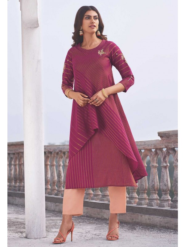 Designer Indian Kurti Rani Pink Colour.