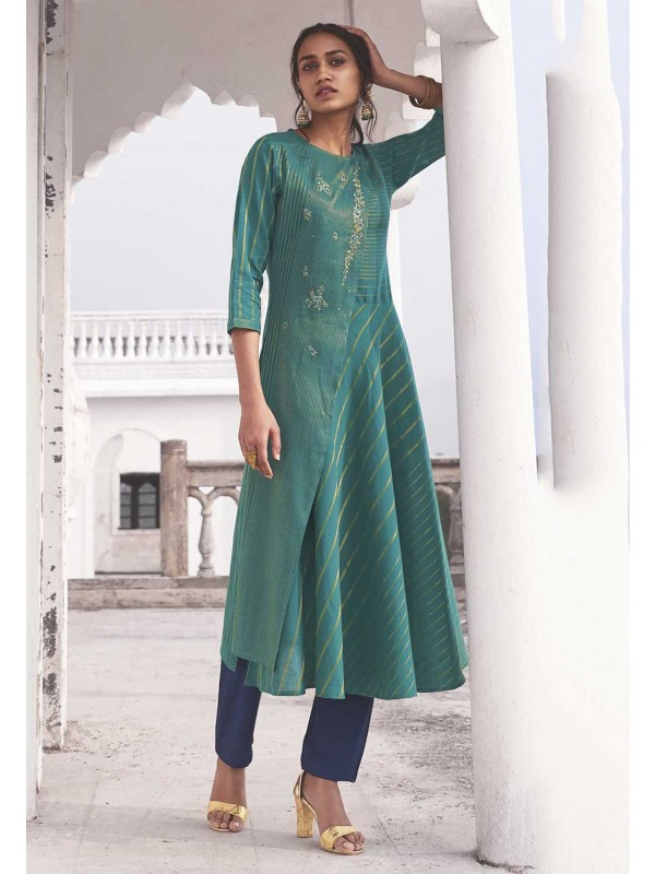 Bottle Green Colour Designer Readymade Kurti.