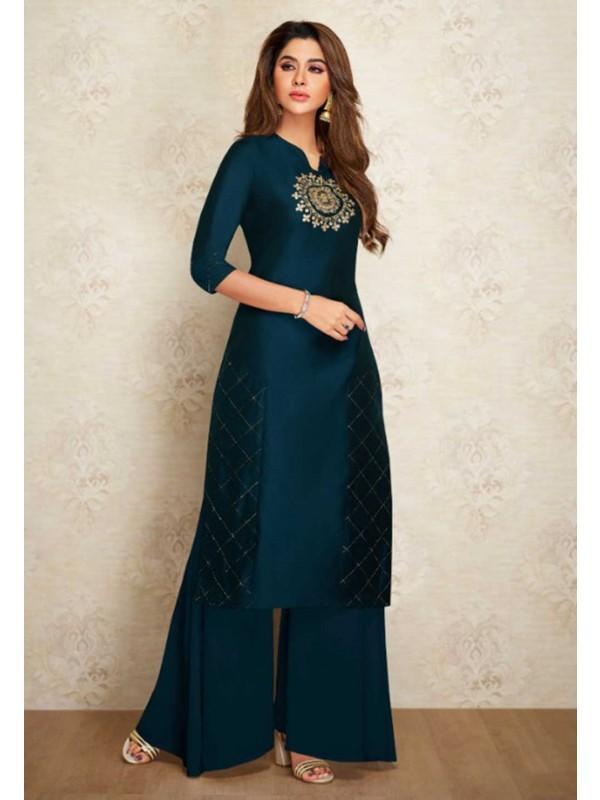 Silk Designer Kurti Blue Colour.