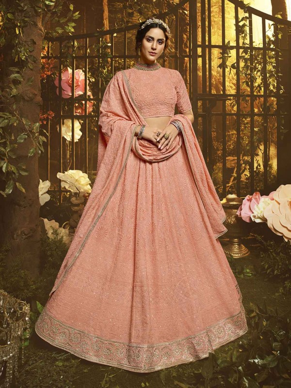 Indian Designer Lehenga Choli Peach Colour.