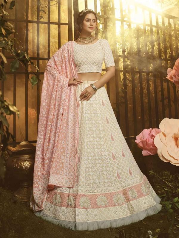 White Colour Georgette Fabric Womens Lehenga Choli.