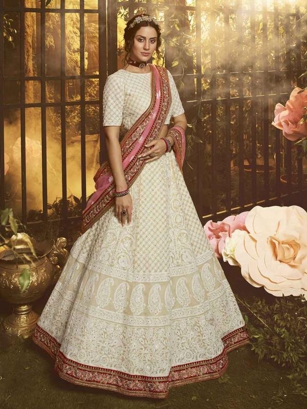White Colour Georgette Fabric Designer Lehenga Choli.