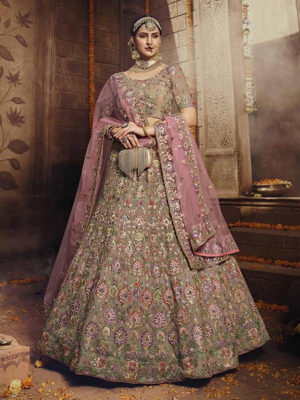 Brown Colour Georgette Fabric Designer Lehenga Choli.